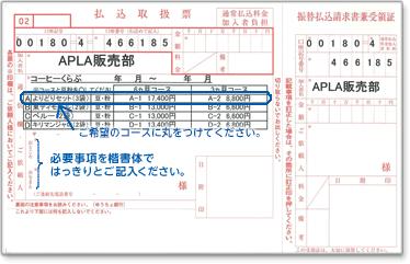 振込み用紙記入例 ご希望のコースに丸をつけてください。